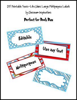 Book Bin Rectangle Labels – Coordinates with Seuss-like Co