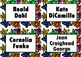 Book Bin/Shelf Organizer Cards by Author for Grades 3-5 (star)