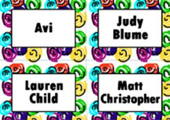 Book Bin/Shelf Organizer Cards by Author for Grades 3-5 (swirl)