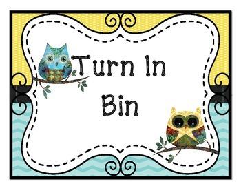 Book Boo Boo Bin, Turn In, Absent Bin, Sub Tub Signs