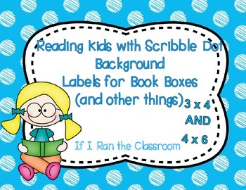 Book Box Labels Reading Kids with Scribble Dots