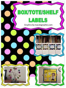Book Box, Tote, Bin, Shelf Labels - Polka dots, Bright col