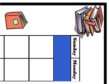 Book Calendar! Reading Bulletin Board! Books Reading Theme
