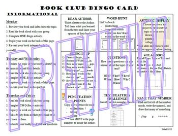 Book Club Bingo - Informational