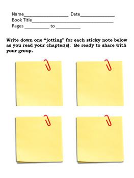 Book Club Jotting/ Wondering Sheet