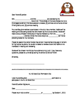 Book Club Permission Slip Template