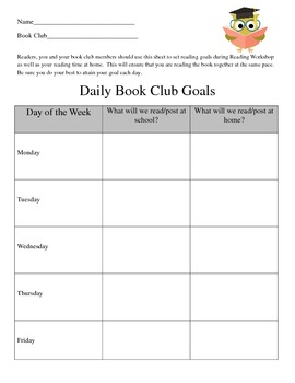 Book Club Reading Goals Organizer