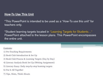"""Book Clubs """"How to Use this Unit"""" and Student Learning Tar"""