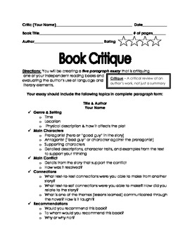 "Book Critique Rubric and Mentor Text using ""Wonder"""