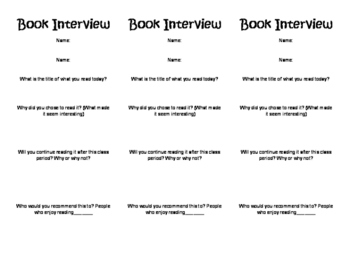 Book Interview Exit Slip