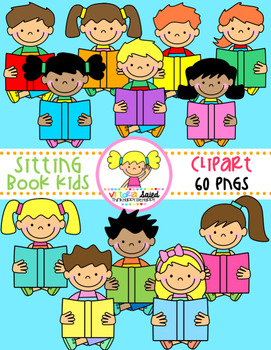 Book Kids Clipart {sitting}