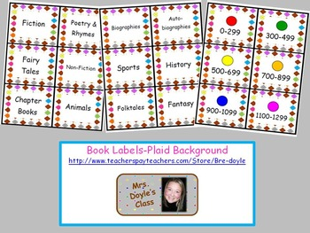 Book Labels-Diamond Plaid Background