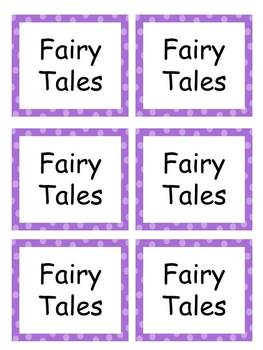 Book Labels-Purple with Green Polka Dots