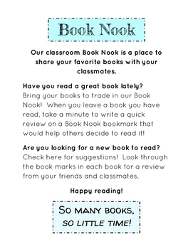 Book Nook Book Exchange Sign and Bookmarks