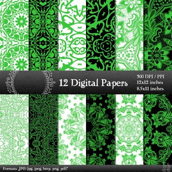 Book Page  12 X 12 + 8.5 X 11 Abstract Decorative Jpg Kit