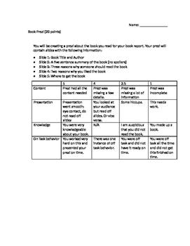 Book Presentation (Developmental Reading)