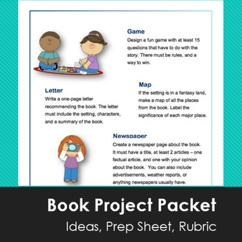 Book Report Projects with Grading Rubrics - by Rachel.