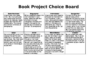Book Project Choice Board and Rubric