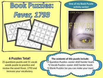 Book Puzzles: Fever, 1793 - Questions and Vocabulary