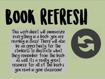 Book Refresh Summarizing Worksheet