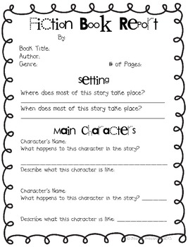 Fiction Book Report Form