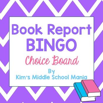 Book Report Bingo Choice Board