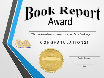 Book Report Certificate