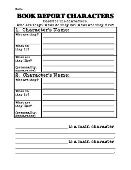 Book Report Characters Graphic Organizer