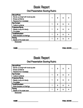 Book Report Oral Presentation Rubric