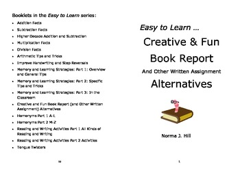 Book Report & Other Creative Writing Alternatives - Easy t