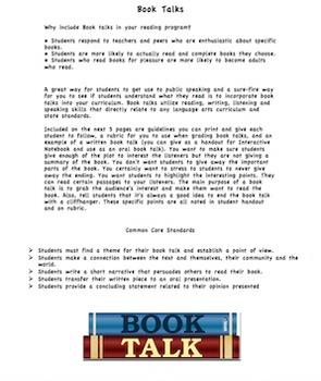 Book Report/Project: Book Talks