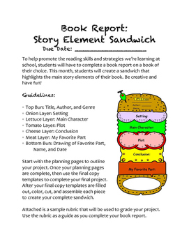 Book Report: Story Element Sandwich