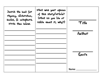 Book Report Trifold
