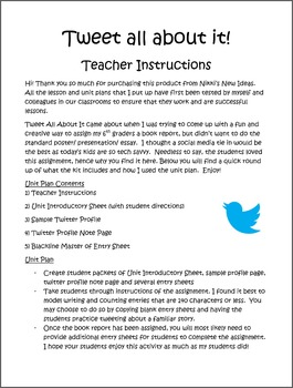 Book Report Unit Plan- Twitter Based book report