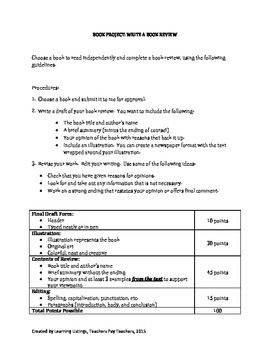 Book Review Book Report with Scoring Rubric