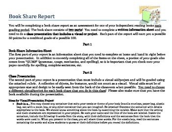 Book Share Report/Independent Reading: Creative Book Report!