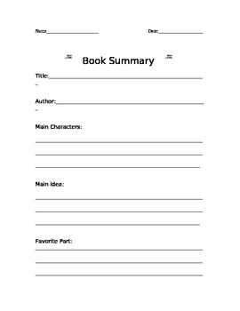 """Book Summary Form: One For Each """"Traditional"""" School Month"""