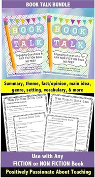 Book Talk BUNDLE: Comprehension Questions (Use ANY FICTION