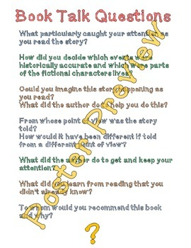 "Book Talk Questions 3 (16""x20"") Printable Poster"