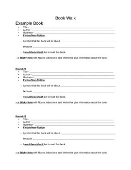 Book Walk Activity - Accompanying Activity Worksheet