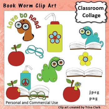 Book Worm Clip Art  Color  personal & commercial use