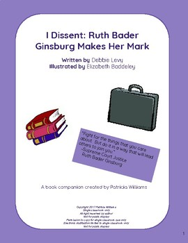 """Book activities for """"I Dissent: Ruth Bader Ginsburg Makes"""