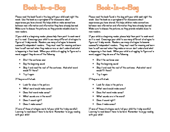 Book in a Bag Parent Letter and Activity Suggestions