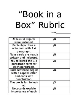 Book in a Box Rubric