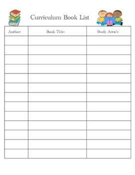 Book log to go with your curriculum