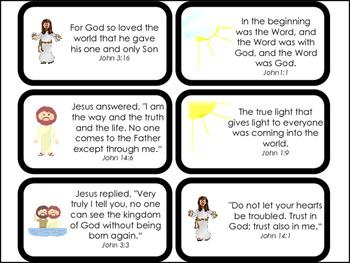 Book of John Bible Verse Printable Flashcards. Bible Study