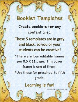 Booklet Templates for Learning