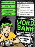 {Printable Booklet} Word Bank
