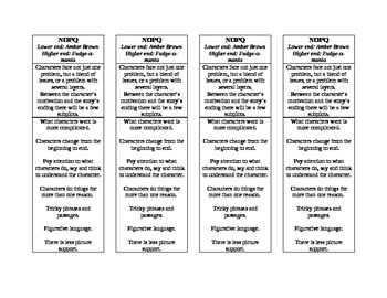 Guided Reading Bookmark- NOPQ Book Band Characteristics