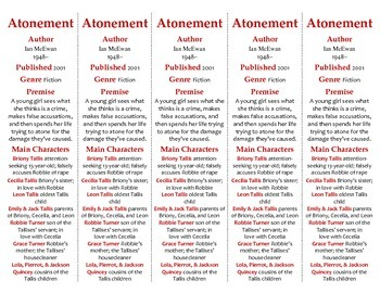 Atonement edition of Bookmarks Plus—A Handy Little Reading Aid!